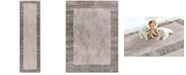 """Kas CLOSEOUT! Retreat Border 114 Taupe 2'2"""" x 7'6"""" Runner Area Rug"""