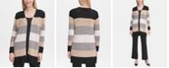 Calvin Klein Striped Colorblock Open Cardigan
