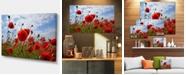 "Design Art Designart Bright Red Poppy Flowers Photo Flower Artwork On Canvas - 32"" X 16"""