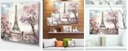 "Design Art Designart Eiffel With Pink Flowers Landscape Canvas Art Print - 20"" X 12"""