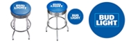 Trademark Global Bud Light Chrome Ribbed Bar Stool