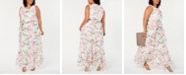 Jessica Howard Plus Size Ruffled Floral Maxi Dress
