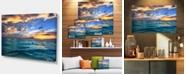 "Design Art Designart Exotic Tropical Beach At Sunset Modern Seashore Canvas Art - 32"" X 16"""