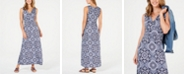Charter Club Petite Knit Border Print Maxi Dress, Created for Macy's