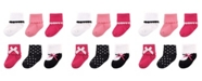 Luvable Friends Dressy Cuff Socks, 6-Pack, Black and Pink, 0-24 Months