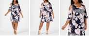 Connected Plus Size Floral Cold-Shoulder Dress