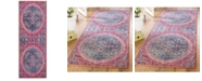Safavieh Sutton Turquoise and Fuchsia 3' x 8'  Runner  Area Rug