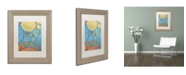 """Trademark Global Cora Niele 'Blue and Apricot Drops' Matted Framed Art - 14"""" x 11"""" x 0.5"""""""