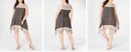 Robbie Bee Plus Size Printed Handkerchief-Hem Dress