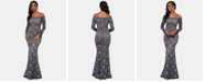 XSCAPE Petite Lace Off-The-Shoulder Gown