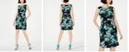 Connected Petite Draped Floral-Print A-Line Dress