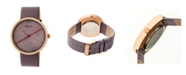 Simplify Quartz The 4100 Rose Gold Case, Genuine Purple Leather Watch 43mm