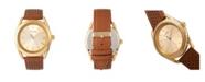 Simplify Quartz The 5900 Gold Case, Genuine Camel Leather Watch 43mm