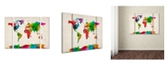"Trademark Global Michael Tompsett 'Watercolor World Map II' Multi Panel Art Set Large - 41"" x 30"" x 2"""
