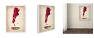 "Trademark Global Naxart 'Argentina Watercolor Map' Canvas Art - 19"" x 14"" x 2"""