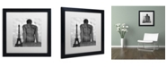 """Trademark Global Moises Levy 'Eiffel and Man' Matted Framed Art - 16"""" x 16"""" x 0.5"""""""