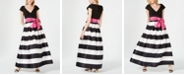 Jessica Howard Portrait-Collar Striped Bow Ballgown
