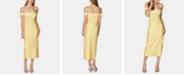 Avec Les Filles Off-The-Shoulder Striped Midi Dress