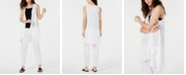 Eileen Fisher Organic Cotton Open-Front Vest & Crinkle Tapered Pants, Regular & Petite