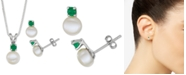 """Macy's Cultured Freshwater Pearl (6-7mm) & Emerald (1/3 ct. t.w.) 18"""" Pendant Necklace & Stud Earrings Set in Sterling Silver"""