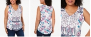 Style & Co Plus Size Printed Tasseled Top, Created for Macy's