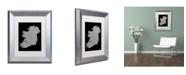 """Trademark Global Michael Tompsett 'Ireland Eire City Text Map B&W' Matted Framed Art - 11"""" x 14"""""""