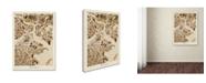 "Trademark Global Michael Tompsett 'Boston MA Street Map Brown' Canvas Art - 14"" x 19"""