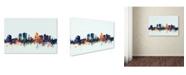 """Trademark Global Michael Tompsett 'Christchurch NZ Skyline Blue' Canvas Art - 12"""" x 19"""""""