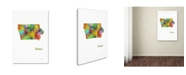 "Trademark Global Marlene Watson 'Iowa State Map-1' Canvas Art - 12"" x 19"""