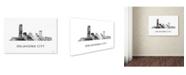 "Trademark Global Marlene Watson 'Oklahoma City Oklahoma Skyline WB-BW' Canvas Art - 12"" x 19"""