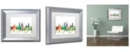 "Trademark Global Marlene Watson 'Jacksonville Florida Skyline SP' Matted Framed Art - 11"" x 14"""