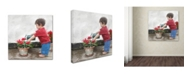 """Trademark Global The Macneil Studio 'Boy with Watering Can' Canvas Art - 14"""" x 14"""""""