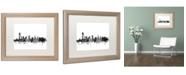 "Trademark Global Michael Tompsett 'Jersey City NJ Skyline B&W' Matted Framed Art - 16"" x 20"""