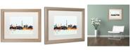 """Trademark Global Michael Tompsett 'Paris France Skyline Blue' Matted Framed Art - 16"""" x 20"""""""