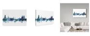 "Trademark Global Michael Tompsett 'Halmstad Sweden Blue Teal Skyline' Canvas Art - 19"" x 12"""