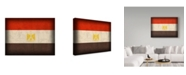 "Trademark Global Red Atlas Designs 'Egypt Distressed Flag' Canvas Art - 19"" x 14"""