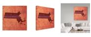 "Trademark Global Red Atlas Designs 'Massachusetts State Words' Canvas Art - 14"" x 14"""