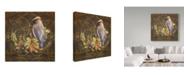 "Trademark Global Jean Plout 'Glorious Bird On Damask' Canvas Art - 35"" x 35"""