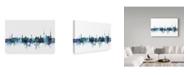 "Trademark Global Michael Tompsett 'Stuttgart Germany Blue Teal Skyline' Canvas Art - 24"" x 16"""