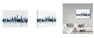 "Trademark Global Michael Tompsett 'Bangkok Thailand Blue Teal Skyline' Canvas Art - 32"" x 22"""