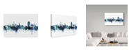 "Trademark Global Michael Tompsett 'Lugano Switzerland Blue Teal Skyline' Canvas Art - 32"" x 22"""