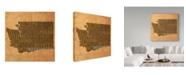 "Trademark Global Red Atlas Designs 'Washington State Words' Canvas Art - 35"" x 35"""