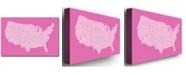 "Trademark Global Michael Tompsett 'US City Map VII' Canvas Art - 47"" x 30"""