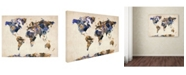 "Trademark Global Michael Tompsett 'Watercolor Map 3' Canvas Art - 24"" x 16"""