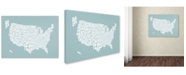 "Trademark Global Michael Tompsett 'DUCK EGG-USA States Text Map' Canvas Art - 47"" x 30"""