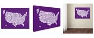 "Trademark Global Michael Tompsett 'PURPLE-USA States Text Map' Canvas Art - 32"" x 22"""