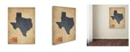 "Trademark Global Michael Tompsett 'Texas Map Denim Jeans Style' Canvas Art - 47"" x 35"""