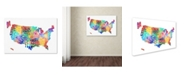 "Trademark Global Michael Tompsett 'United States Typography Text Map 2' Canvas Art - 22"" x 32"""