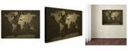 """Trademark Global Michael Tompsett 'Gold World Map' Canvas Art - 14"""" x 19"""""""