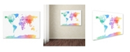 "Trademark Global Michael Tompsett 'Watercolor Map of the World' Canvas Art - 14"" x 19"""